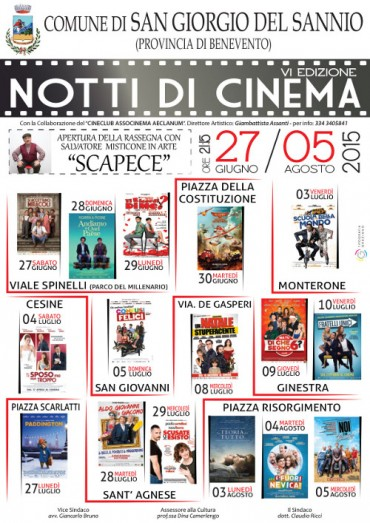 Notti di cinema 2015, orari e programma