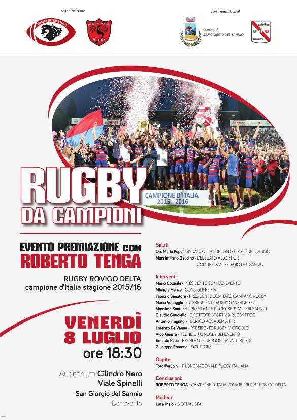 Rugby da campioni: evento premiazione con Roberto Tenga