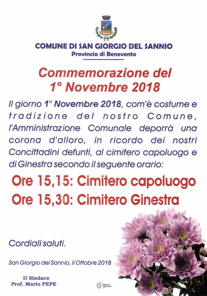 Commemorazione del 1 novembre 2018