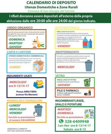 Calendario di deposito rifiuti utenze domestiche, commerciali e zone rurali