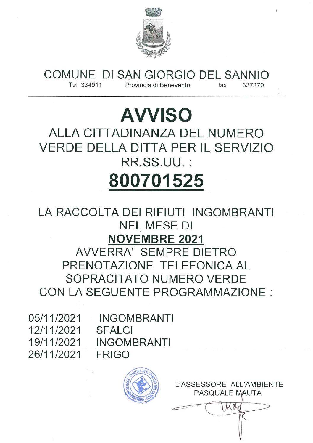 Calendario raccolta rifiuti ingombranti. Novembre 2021